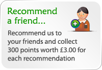 Recommend a friend and get 300 loyalty points (worth £3.00) when they sign up for an online account and make their first booking